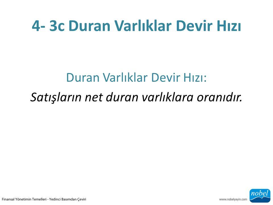 4- 3c Duran Varlıklar Devir Hızı Duran Varlıklar Devir Hızı: Satışların net duran varlıklara oranıdır.