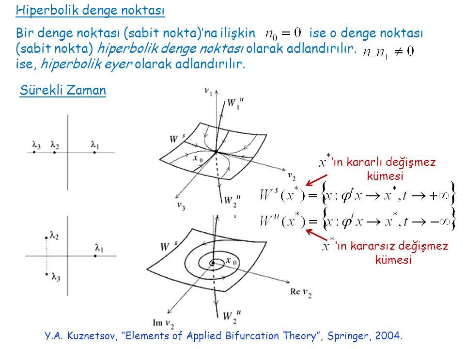 Hiperbolik denge noktası Bir denge noktası (sabit nokta)'na ilişkin ise o denge noktası (sabit nokta) hiperbolik denge noktası olarak adlandırılır. is