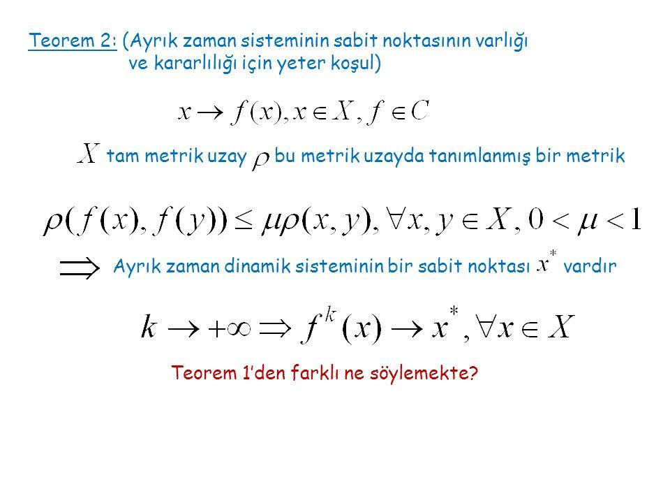Teorem 2: (Ayrık zaman sisteminin sabit noktasının varlığı ve kararlılığı için yeter koşul) tam metrik uzay bu metrik uzayda tanımlanmış bir metrik Ayrık zaman dinamik sisteminin bir sabit noktası vardır Teorem 1'den farklı ne söylemekte