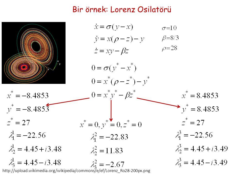 Bir örnek: Lorenz Osilatörü http://upload.wikimedia.org/wikipedia/commons/e/ef/Lorenz_Ro28-200px.png