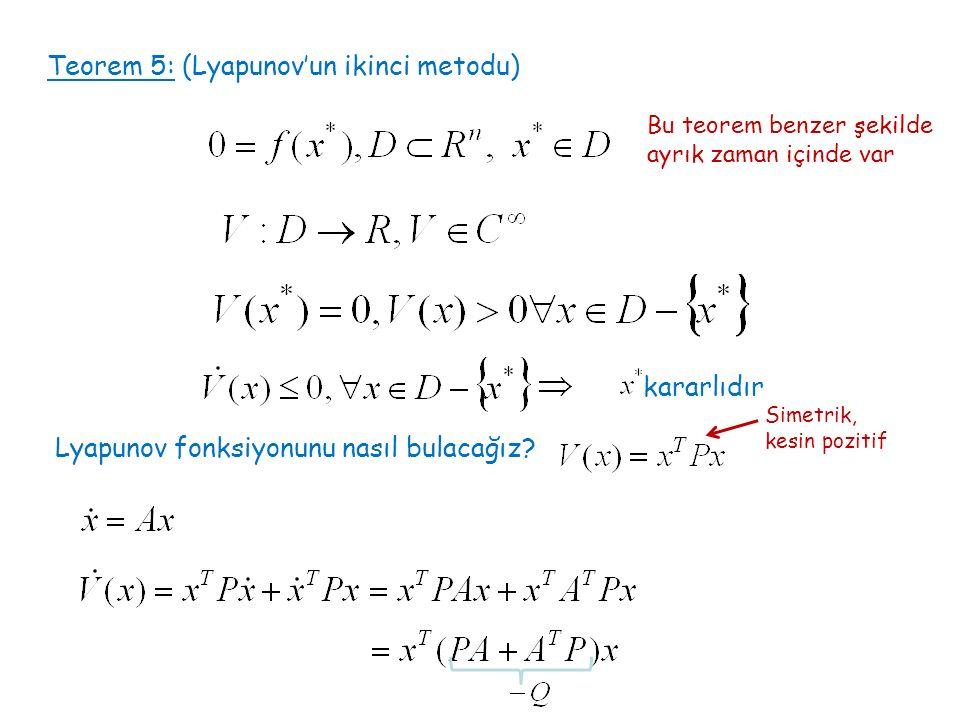 Teorem 5: (Lyapunov'un ikinci metodu) kararlıdır Lyapunov fonksiyonunu nasıl bulacağız? Simetrik, kesin pozitif Bu teorem benzer şekilde ayrık zaman i