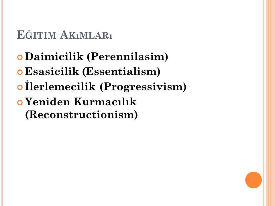 E ĞITIM A KıMLARı Daimicilik (Perennilasim) Esasicilik (Essentialism) İlerlemecilik (Progressivism) Yeniden Kurmacılık (Reconstructionism)