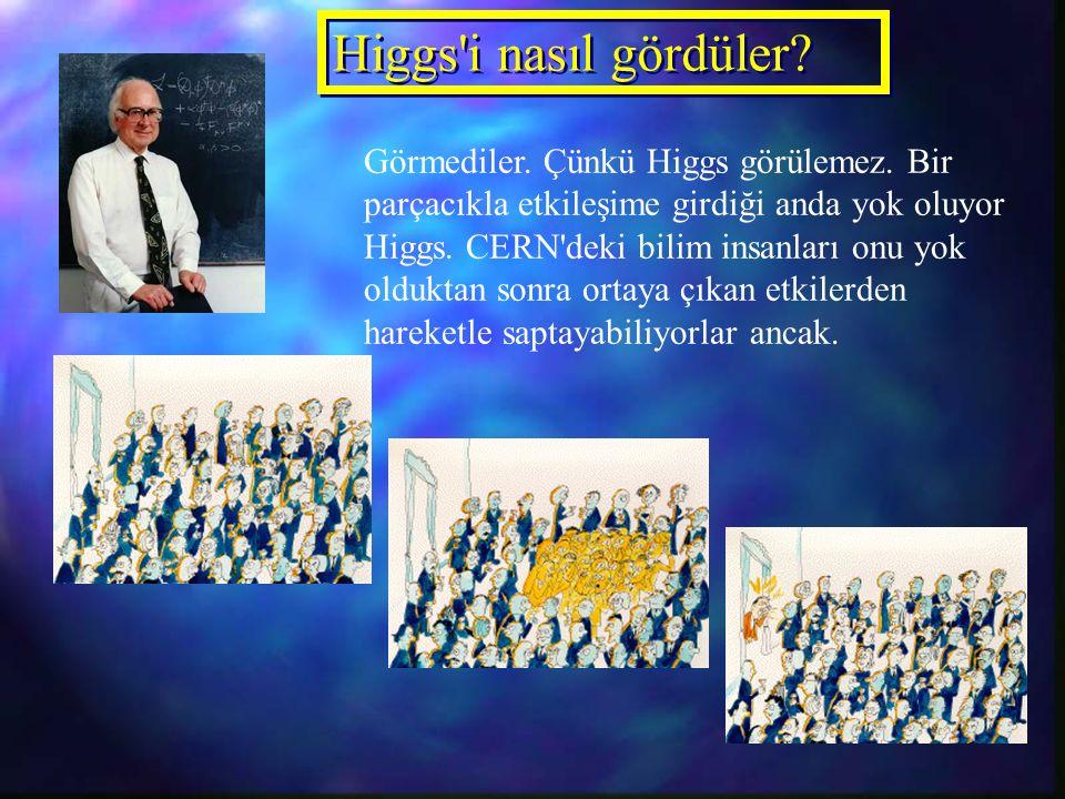 Higgs i nasıl gördüler. Görmediler. Çünkü Higgs görülemez.