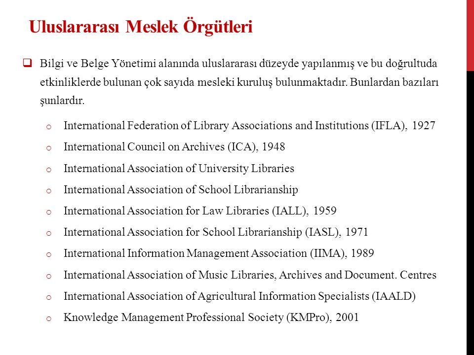 Uluslararası Meslek Örgütleri  Bilgi ve Belge Yönetimi alanında uluslararası düzeyde yapılanmış ve bu doğrultuda etkinliklerde bulunan çok sayıda mesleki kuruluş bulunmaktadır.