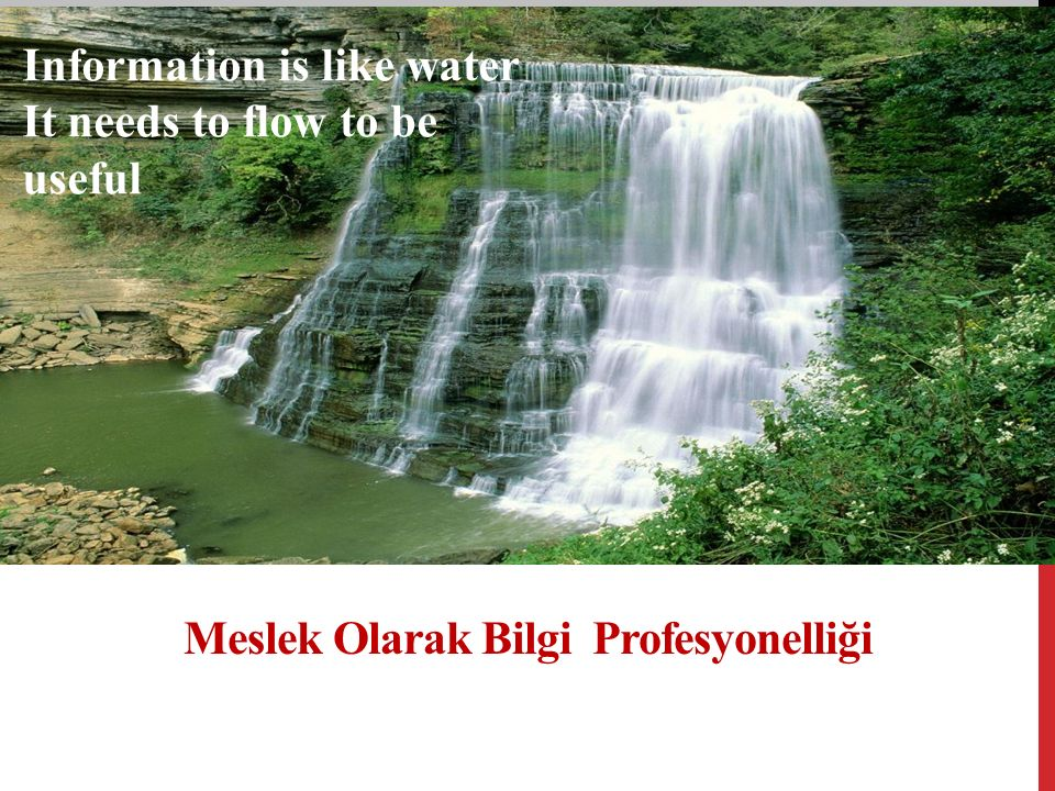 Meslek Olarak Bilgi Profesyonelliği Information is like water It needs to flow to be useful