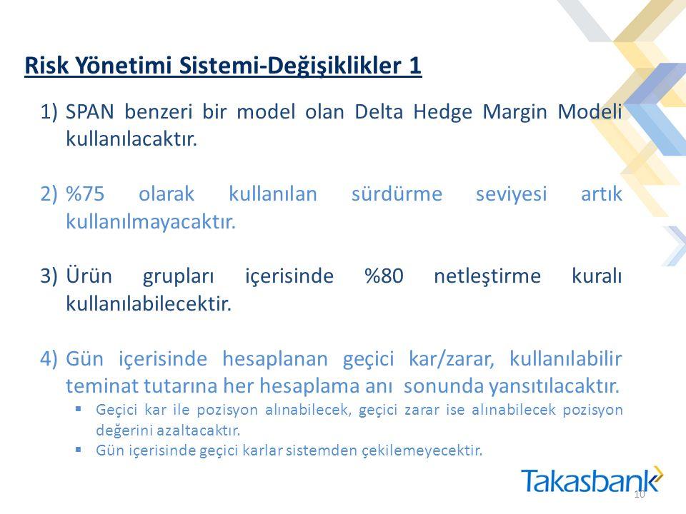 Risk Yönetimi Sistemi-Değişiklikler 1 10 1)SPAN benzeri bir model olan Delta Hedge Margin Modeli kullanılacaktır. 2)%75 olarak kullanılan sürdürme sev