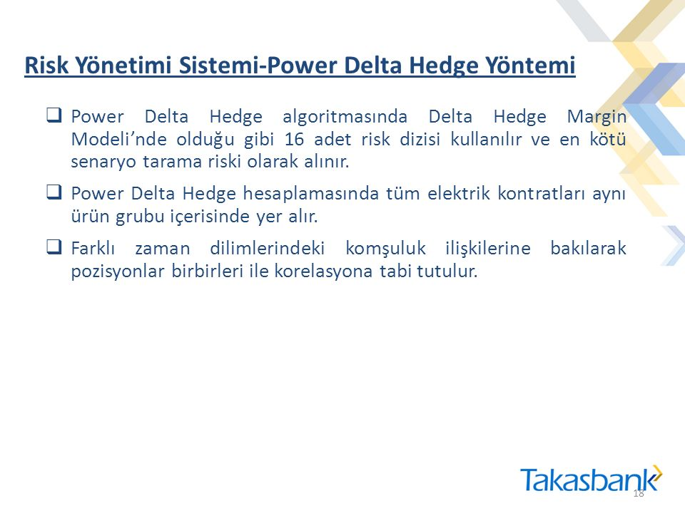 Risk Yönetimi Sistemi-Power Delta Hedge Yöntemi 18  Power Delta Hedge algoritmasında Delta Hedge Margin Modeli'nde olduğu gibi 16 adet risk dizisi kullanılır ve en kötü senaryo tarama riski olarak alınır.