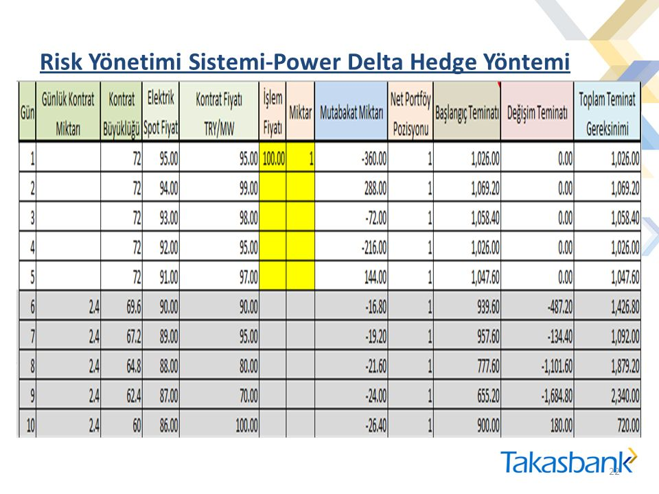 Risk Yönetimi Sistemi-Power Delta Hedge Yöntemi 22