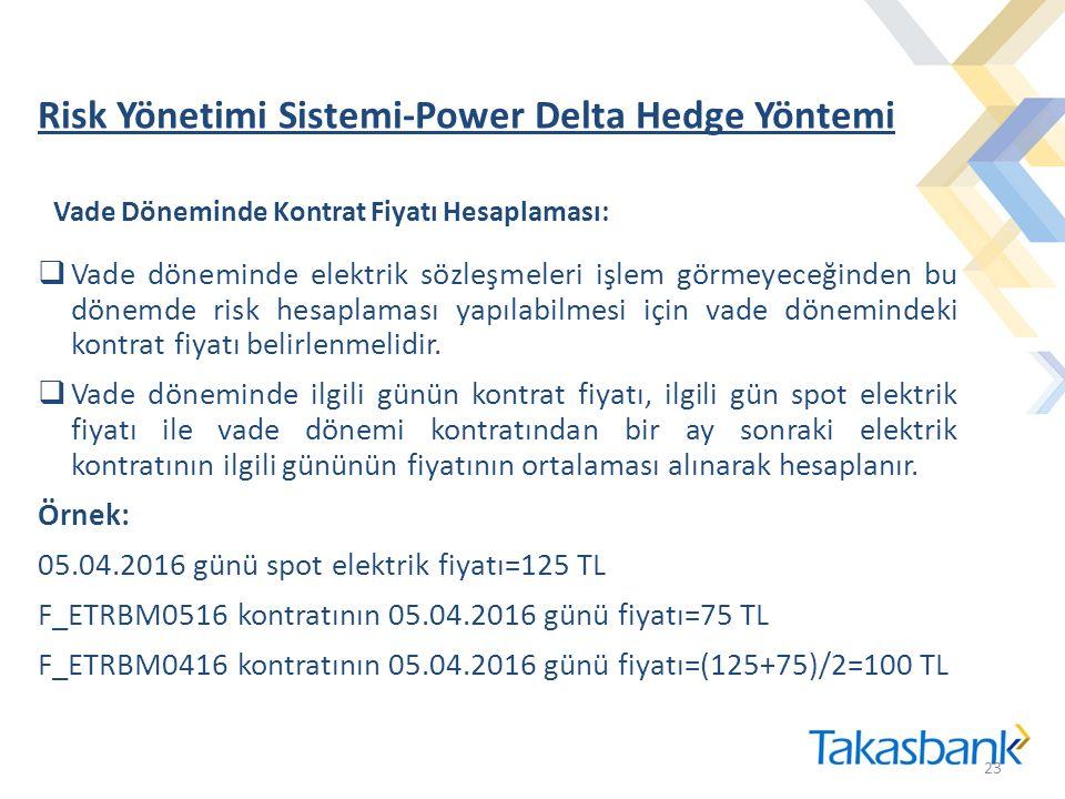 Risk Yönetimi Sistemi-Power Delta Hedge Yöntemi 23  Vade döneminde elektrik sözleşmeleri işlem görmeyeceğinden bu dönemde risk hesaplaması yapılabilmesi için vade dönemindeki kontrat fiyatı belirlenmelidir.