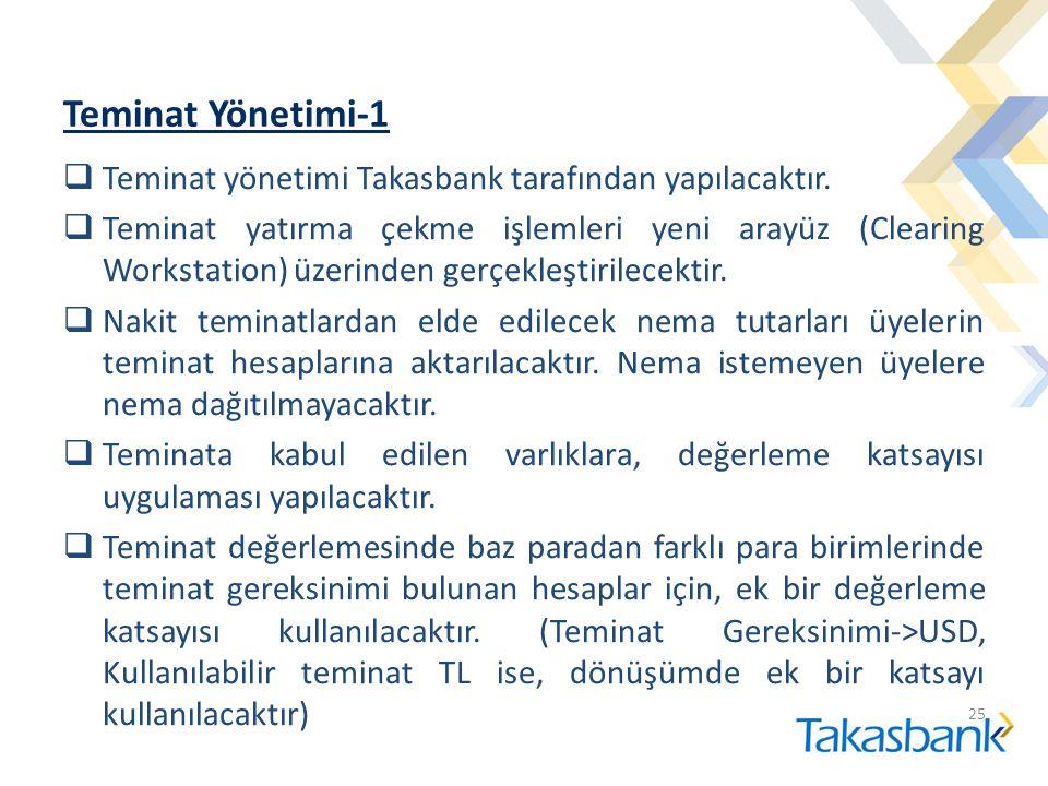 Teminat Yönetimi-1  Teminat yönetimi Takasbank tarafından yapılacaktır.  Teminat yatırma çekme işlemleri yeni arayüz (Clearing Workstation) üzerinde