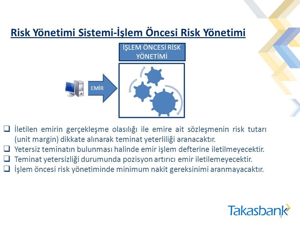 Risk Yönetimi Sistemi-İşlem Öncesi Risk Yönetimi 4 4 EMİR İŞLEM ÖNCESİ RİSK YÖNETİMİ  İletilen emirin gerçekleşme olasılığı ile emire ait sözleşmenin risk tutarı (unit margin) dikkate alınarak teminat yeterliliği aranacaktır.