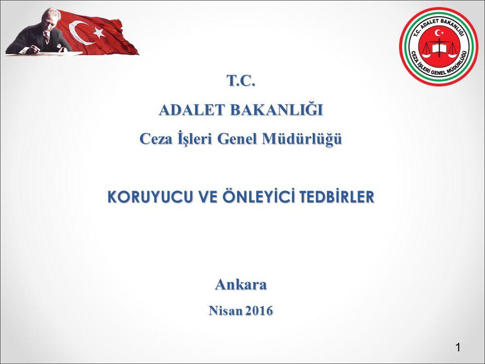 T.C. ADALET BAKANLIĞI Ceza İşleri Genel Müdürlüğü KORUYUCU VE ÖNLEYİCİ TEDBİRLER Ankara Nisan 2016 1