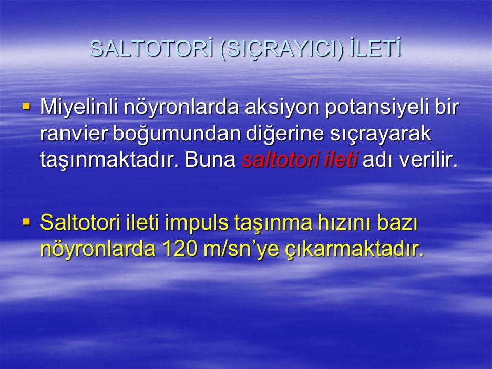 SALTOTORİ (SIÇRAYICI) İLETİ  Miyelinli nöyronlarda aksiyon potansiyeli bir ranvier boğumundan diğerine sıçrayarak taşınmaktadır.