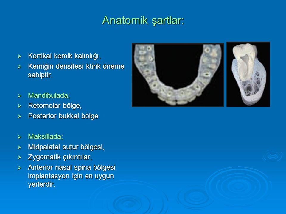 Anatomik şartlar:  Kortikal kemik kalınlığı,  Kemiğin densitesi ktirik öneme sahiptir.