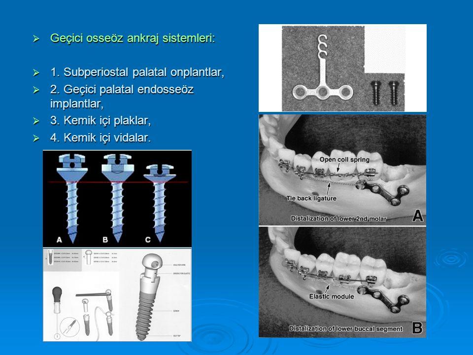  Geçici osseöz ankraj sistemleri:  1. Subperiostal palatal onplantlar,  2.