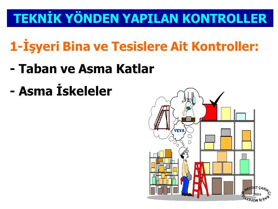 TEKNİK YÖNDEN YAPILAN KONTROLLER 1-İşyeri Bina ve Tesislere Ait Kontroller: - Taban ve Asma Katlar - Asma İskeleler 2004
