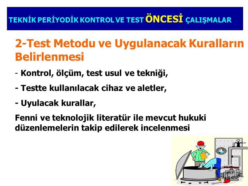2-Test Metodu ve Uygulanacak Kuralların Belirlenmesi - Kontrol, ölçüm, test usul ve tekniği, - Testte kullanılacak cihaz ve aletler, - Uyulacak kurall