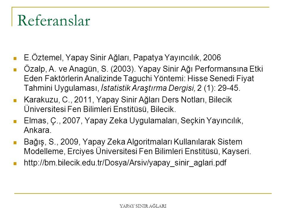 Referanslar E.Öztemel, Yapay Sinir Ağları, Papatya Yayıncılık, 2006 Özalp, A. ve Anagün, S. (2003). Yapay Sinir Ağı Performansına Etki Eden Faktörleri
