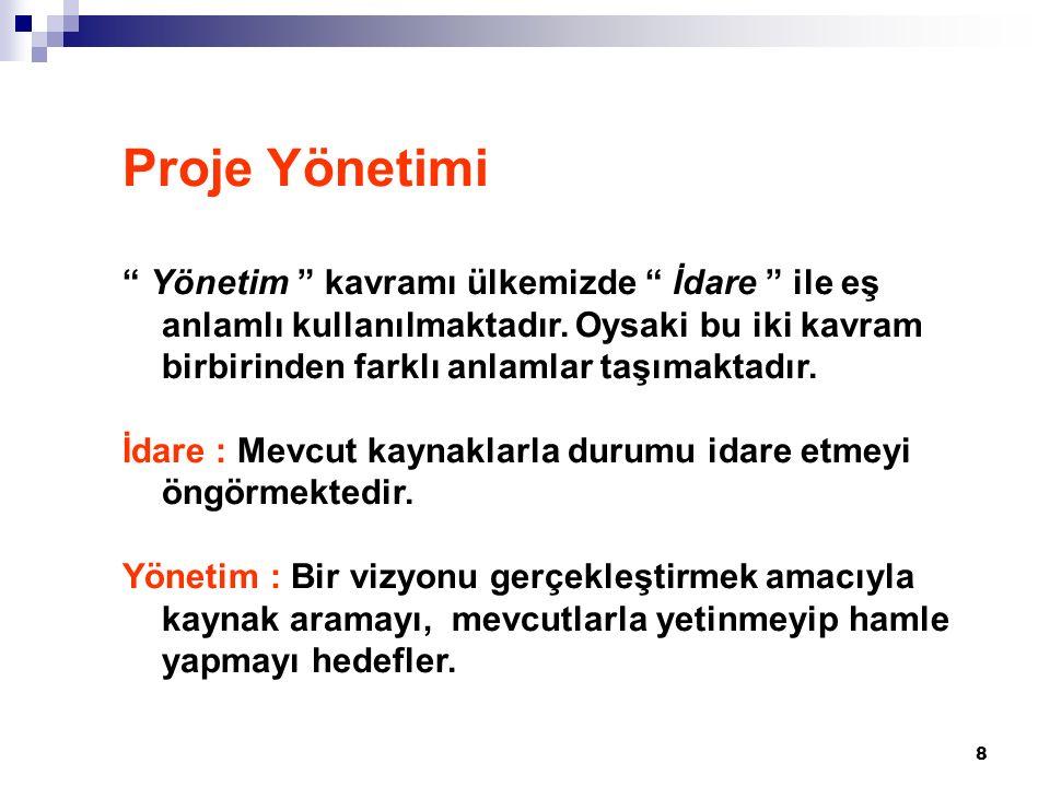 8 Proje Yönetimi Yönetim kavramı ülkemizde İdare ile eş anlamlı kullanılmaktadır.