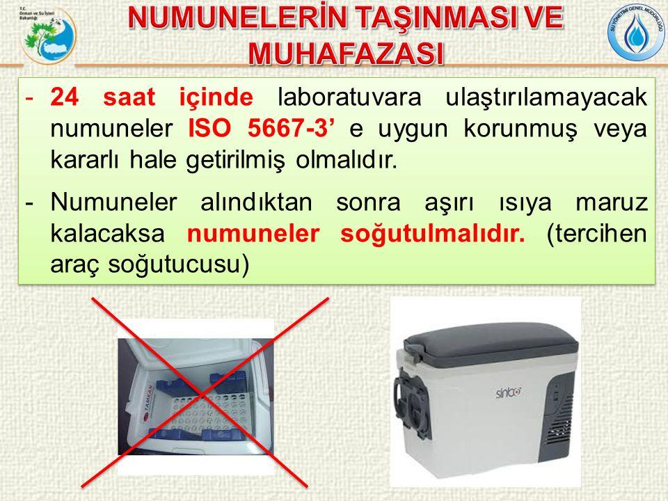 -24 saat içinde laboratuvara ulaştırılamayacak numuneler ISO 5667-3' e uygun korunmuş veya kararlı hale getirilmiş olmalıdır.