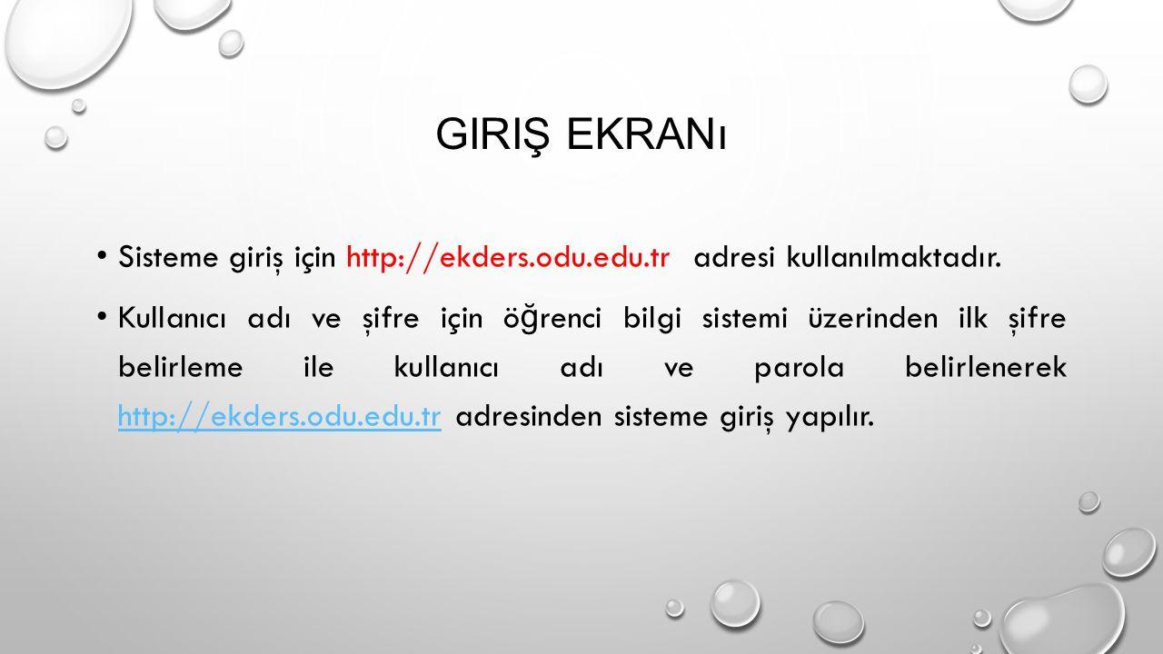 GIRIŞ EKRANı Sisteme giriş için http://ekders.odu.edu.tr adresi kullanılmaktadır.