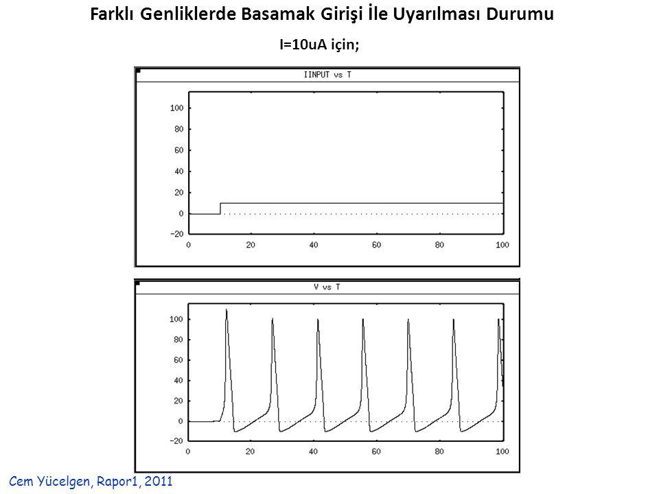 Farklı Genliklerde Basamak Girişi İle Uyarılması Durumu I=10uA için; Cem Yücelgen, Rapor1, 2011