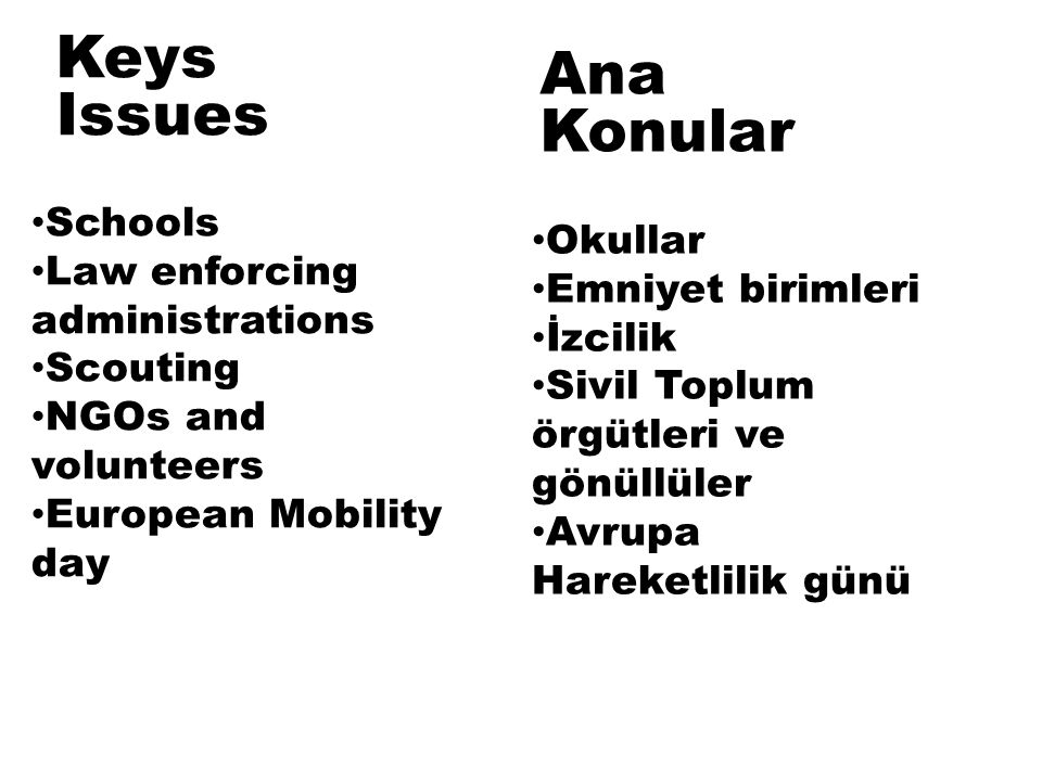 Keys Issues Schools Law enforcing administrations Scouting NGOs and volunteers European Mobility day Okullar Emniyet birimleri İzcilik Sivil Toplum örgütleri ve gönüllüler Avrupa Hareketlilik günü Ana Konular