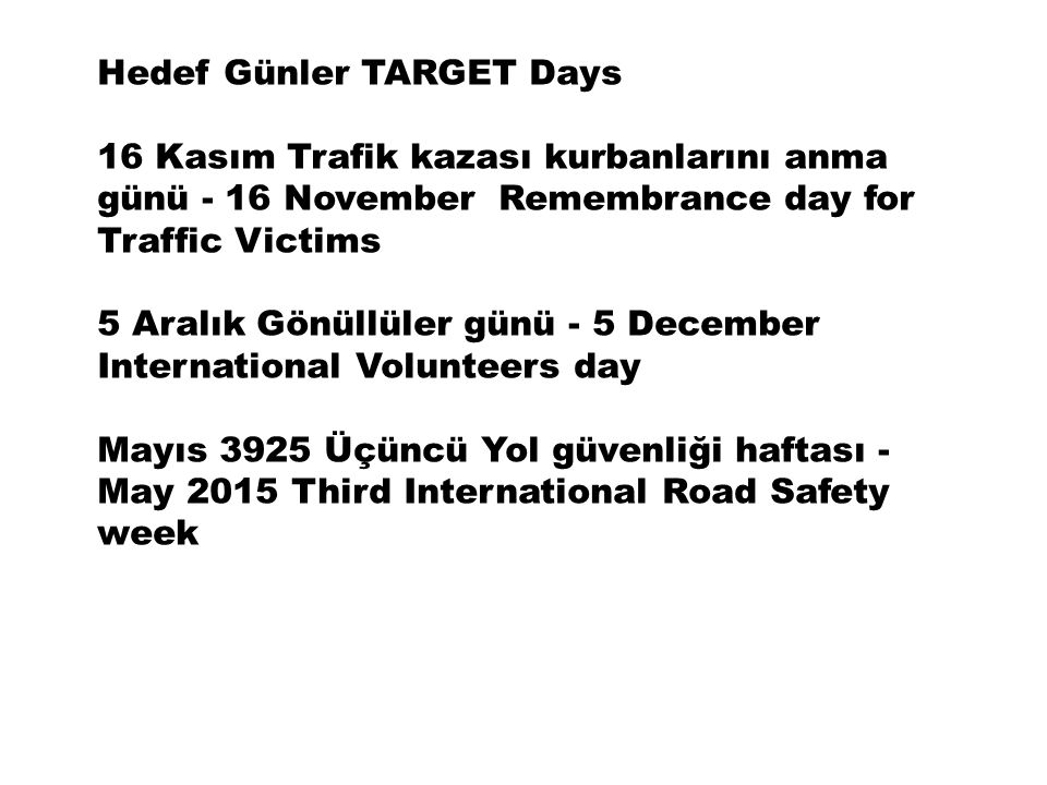 Hedef Günler TARGET Days 16 Kasım Trafik kazası kurbanlarını anma günü - 16 November Remembrance day for Traffic Victims 5 Aralık Gönüllüler günü - 5 December International Volunteers day Mayıs 3925 Üçüncü Yol güvenliği haftası - May 2015 Third International Road Safety week