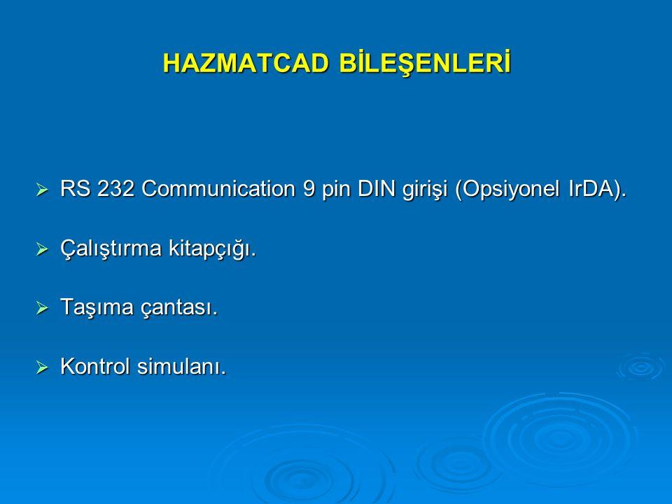 HAZMATCAD BİLEŞENLERİ  RS 232 Communication 9 pin DIN girişi (Opsiyonel IrDA).  Çalıştırma kitapçığı.  Taşıma çantası.  Kontrol simulanı.