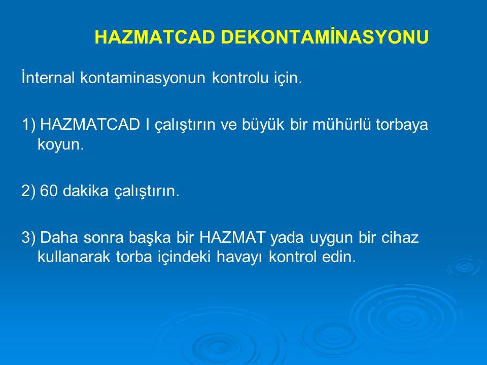 HAZMATCAD DEKONTAMİNASYONU İnternal kontaminasyonun kontrolu için. 1) HAZMATCAD I çalıştırın ve büyük bir mühürlü torbaya koyun. 2) 60 dakika çalıştır