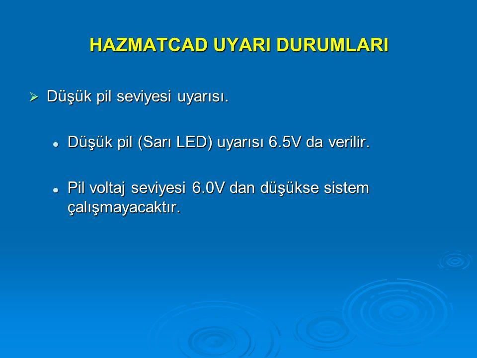 HAZMATCAD UYARI DURUMLARI  Düşük pil seviyesi uyarısı. Düşük pil (Sarı LED) uyarısı 6.5V da verilir. Düşük pil (Sarı LED) uyarısı 6.5V da verilir. Pi