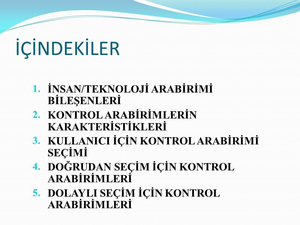 İÇİNDEKİLER 1. İNSAN/TEKNOLOJİ ARABİRİMİ BİLEŞENLERİ 2.