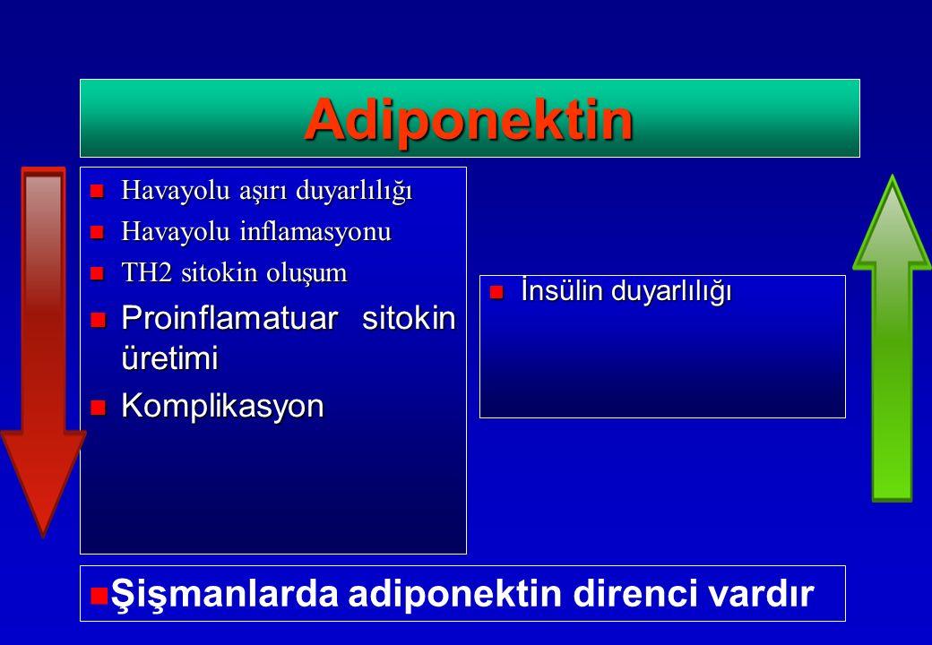İnsülin duyarlılığı İnsülin duyarlılığı Adiponektin Havayolu aşırı duyarlılığı Havayolu aşırı duyarlılığı Havayolu inflamasyonu Havayolu inflamasyonu TH2 sitokin oluşum TH2 sitokin oluşum Proinflamatuar sitokin üretimi Proinflamatuar sitokin üretimi Komplikasyon Komplikasyon Şişmanlarda adiponektin direnci vardır