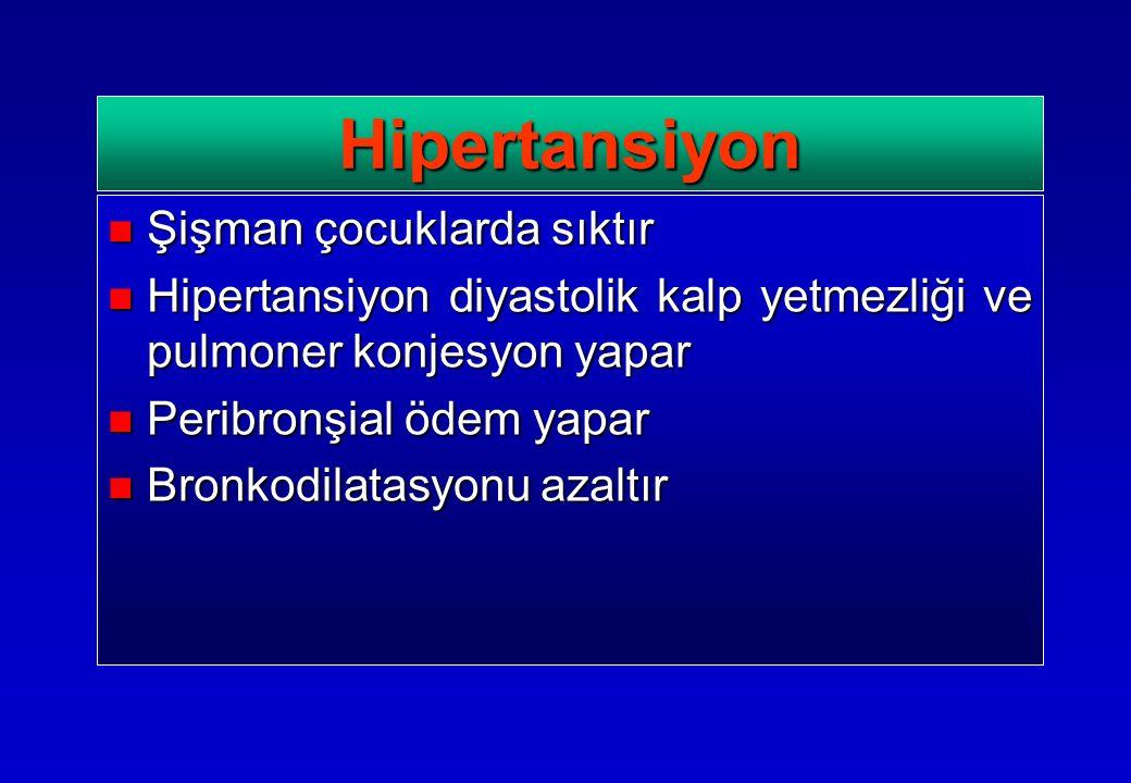 Şişman çocuklarda sıktır Şişman çocuklarda sıktır Hipertansiyon diyastolik kalp yetmezliği ve pulmoner konjesyon yapar Hipertansiyon diyastolik kalp yetmezliği ve pulmoner konjesyon yapar Peribronşial ödem yapar Peribronşial ödem yapar Bronkodilatasyonu azaltır Bronkodilatasyonu azaltır Hipertansiyon