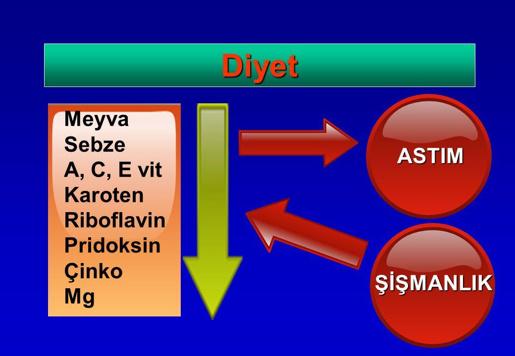 Diyet ASTIM ŞİŞMANLIK Meyva Sebze A, C, E vit Karoten Riboflavin Pridoksin Çinko Mg