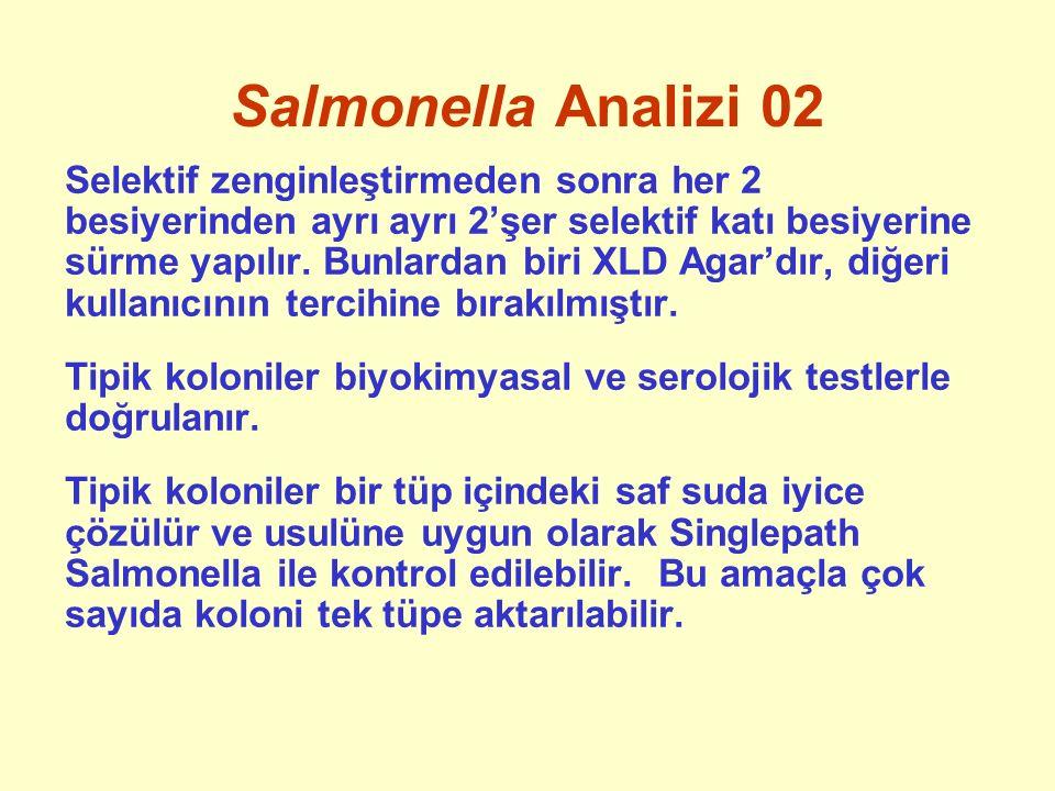 Salmonella Analizi 02 Selektif zenginleştirmeden sonra her 2 besiyerinden ayrı ayrı 2'şer selektif katı besiyerine sürme yapılır. Bunlardan biri XLD A