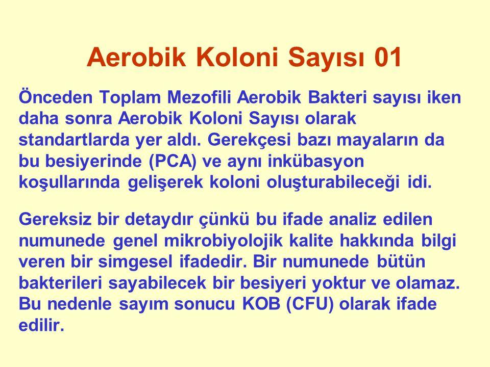 Aerobik Koloni Sayısı 01 Önceden Toplam Mezofili Aerobik Bakteri sayısı iken daha sonra Aerobik Koloni Sayısı olarak standartlarda yer aldı. Gerekçesi