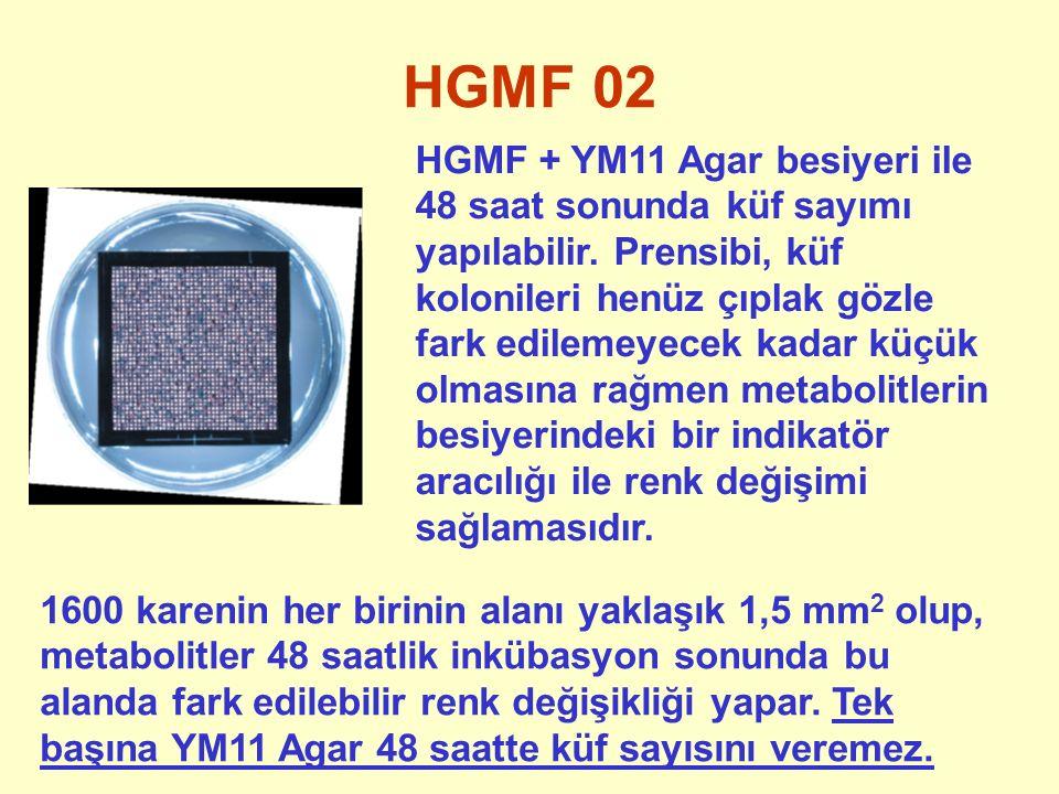 HGMF 02 HGMF + YM11 Agar besiyeri ile 48 saat sonunda küf sayımı yapılabilir. Prensibi, küf kolonileri henüz çıplak gözle fark edilemeyecek kadar küçü