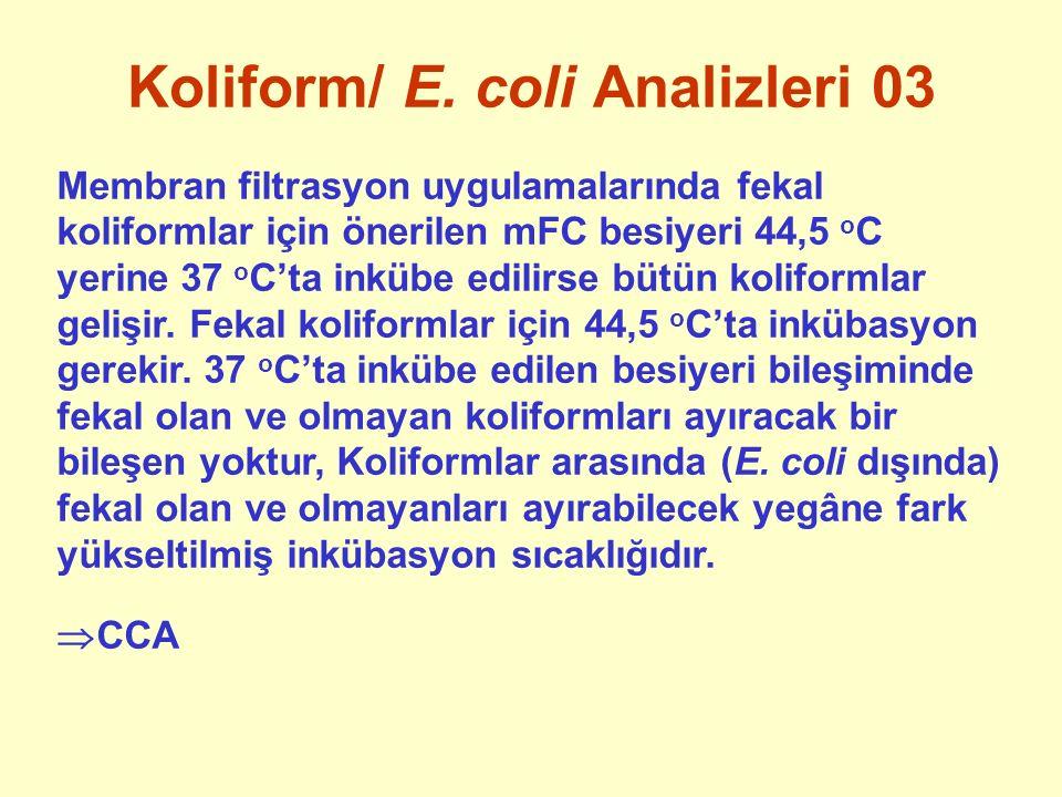 Koliform/ E. coli Analizleri 03 Membran filtrasyon uygulamalarında fekal koliformlar için önerilen mFC besiyeri 44,5 o C yerine 37 o C'ta inkübe edili