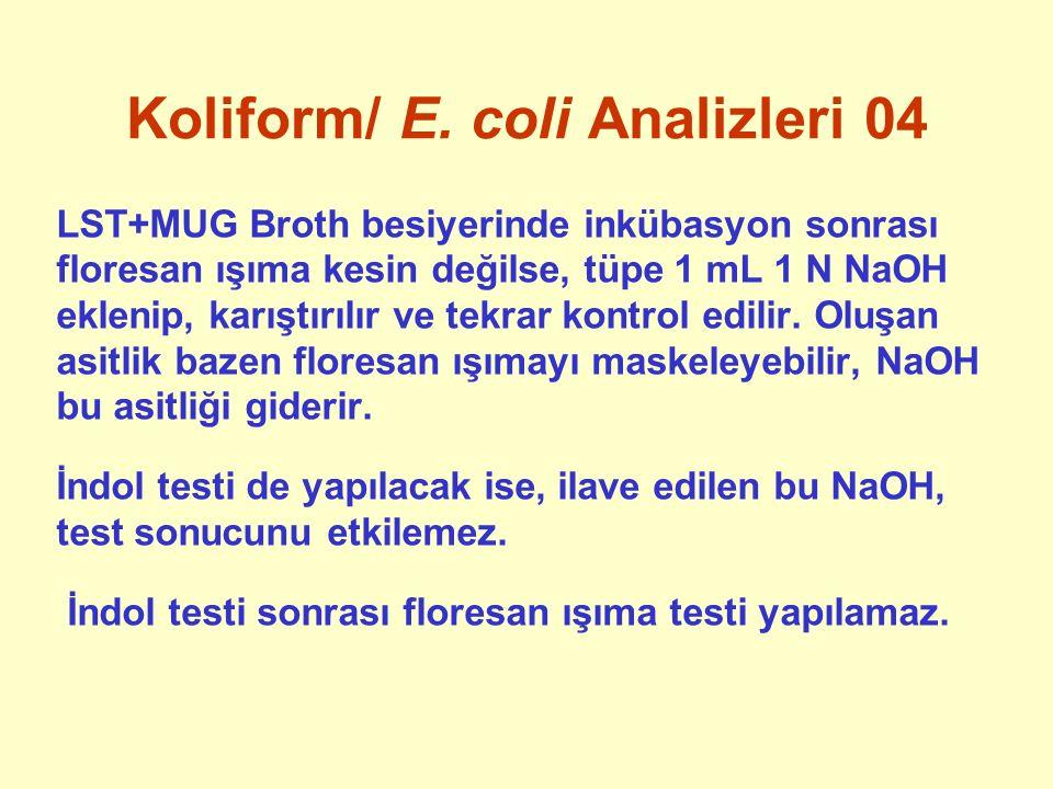 Koliform/ E. coli Analizleri 04 LST+MUG Broth besiyerinde inkübasyon sonrası floresan ışıma kesin değilse, tüpe 1 mL 1 N NaOH eklenip, karıştırılır ve
