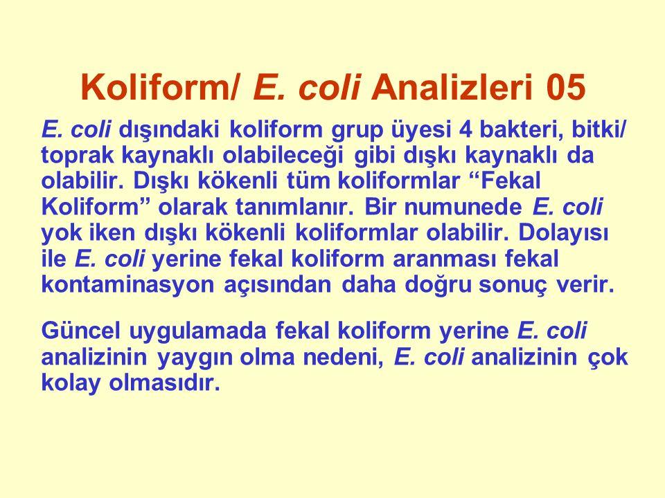 Koliform/ E. coli Analizleri 05 E. coli dışındaki koliform grup üyesi 4 bakteri, bitki/ toprak kaynaklı olabileceği gibi dışkı kaynaklı da olabilir. D