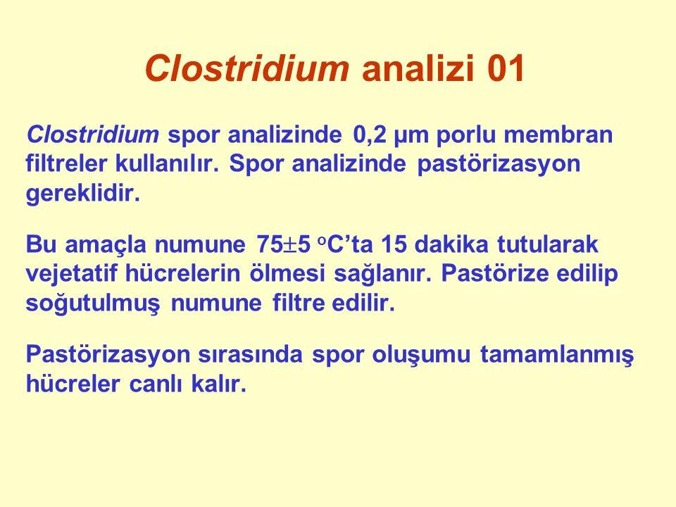 Clostridium analizi 01 Clostridium spor analizinde 0,2 µm porlu membran filtreler kullanılır. Spor analizinde pastörizasyon gereklidir. Bu amaçla numu