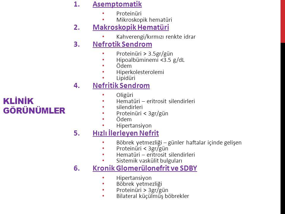 KLİNİK GÖRÜNÜMLER 1.Asemptomatik Proteinüri Mikroskopik hematüri 2.Makroskopik Hematüri Kahverengi/kırmızı renkte idrar 3.Nefrotik Sendrom Proteinüri > 3.5gr/gün Hipoalbüminemi <3.5 g/dL Ödem Hiperkolesterolemi Lipidüri 4.Nefritik Sendrom Oligüri Hematüri – eritrosit silendirleri silendirleri Proteinüri < 3gr/gün Ödem Hipertansiyon 5.Hızlı İlerleyen Nefrit Böbrek yetmezliği – günler haftalar içinde gelişen Proteinüri < 3gr/gün Hematüri – eritrosit silendirleri Sistemik vaskülit bulguları 6.Kronik Glomerülonefrit ve SDBY Hipertansiyon Böbrek yetmezliği Proteinüri > 3gr/gün Bilateral küçülmüş böbrekler