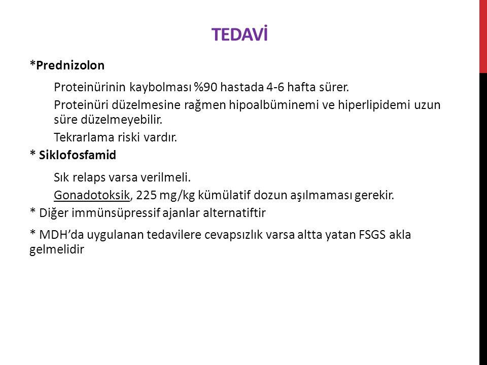 TEDAVİ *Prednizolon Proteinürinin kaybolması %90 hastada 4-6 hafta sürer.