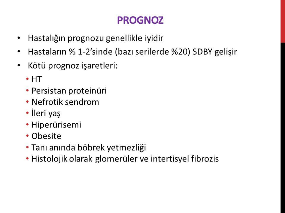PROGNOZ Hastalığın prognozu genellikle iyidir Hastaların % 1-2'sinde (bazı serilerde %20) SDBY gelişir Kötü prognoz işaretleri: HT Persistan proteinüri Nefrotik sendrom İleri yaş Hiperürisemi Obesite Tanı anında böbrek yetmezliği Histolojik olarak glomerüler ve intertisyel fibrozis