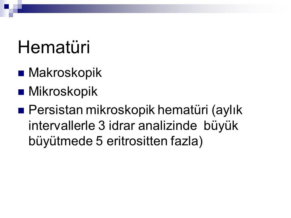 Hematüri Makroskopik Mikroskopik Persistan mikroskopik hematüri (aylık intervallerle 3 idrar analizinde büyük büyütmede 5 eritrositten fazla)