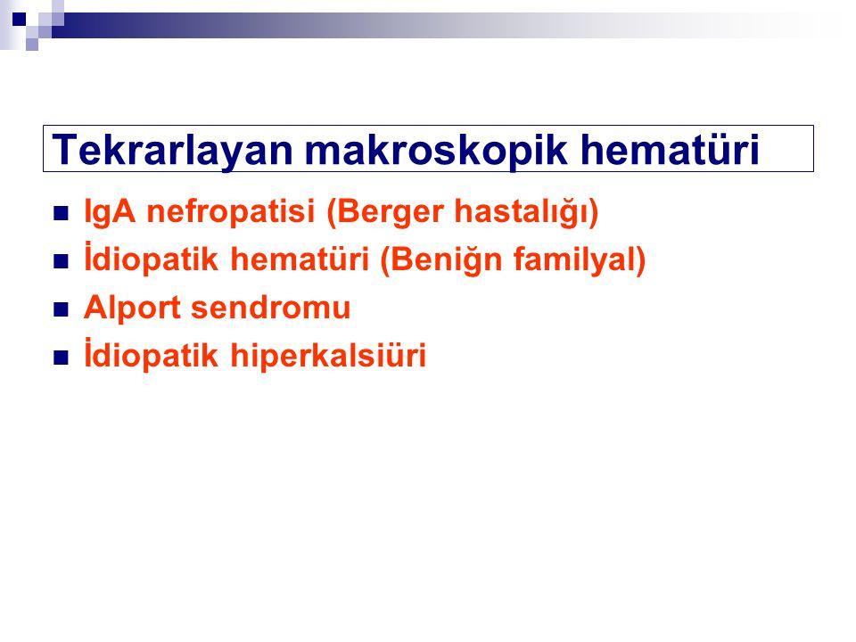 IgA nefropatisi (Berger hastalığı) İdiopatik hematüri (Beniğn familyal) Alport sendromu İdiopatik hiperkalsiüri