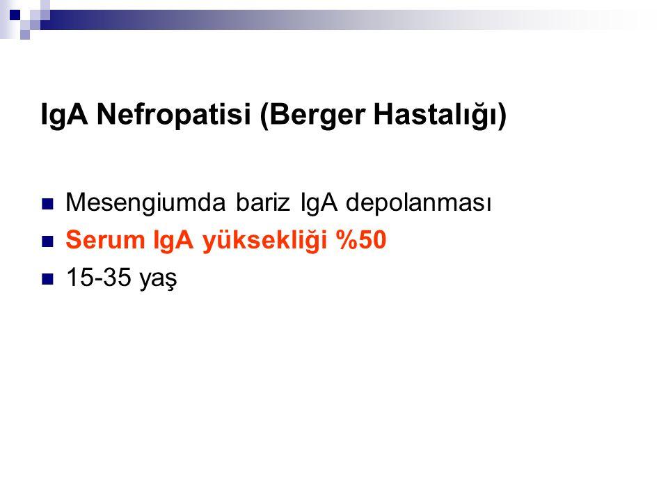 IgA Nefropatisi (Berger Hastalığı) Mesengiumda bariz IgA depolanması Serum IgA yüksekliği %50 15-35 yaş