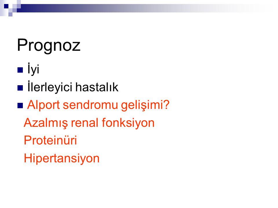 Prognoz İyi İlerleyici hastalık Alport sendromu gelişimi? Azalmış renal fonksiyon Proteinüri Hipertansiyon