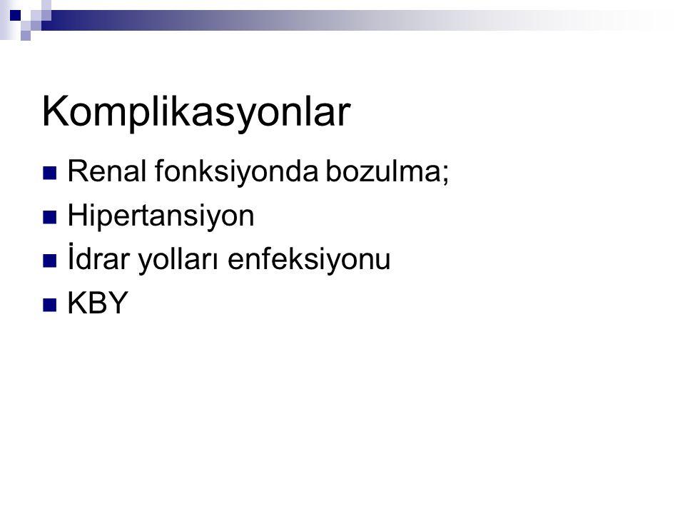 Komplikasyonlar Renal fonksiyonda bozulma; Hipertansiyon İdrar yolları enfeksiyonu KBY